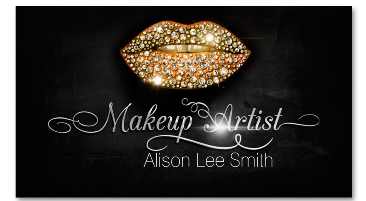 Amazing design store category business card makeup artistdiamonds sparkle lips colourmoves